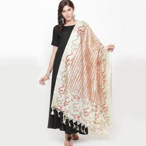 Innovative Off White-Maroon Colored Casual Printed Khadi Silk Dupatta