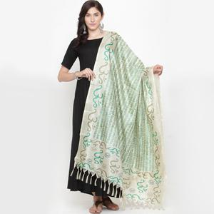 Gleaming Off White-Green Colored Casual Printed Khadi Silk Dupatta