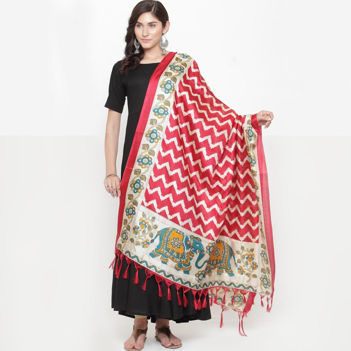 Arresting Red Colored Casual Printed Khadi Silk Dupatta