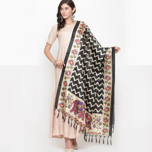 Exceptional Black Colored Casual Printed Khadi Silk Dupatta