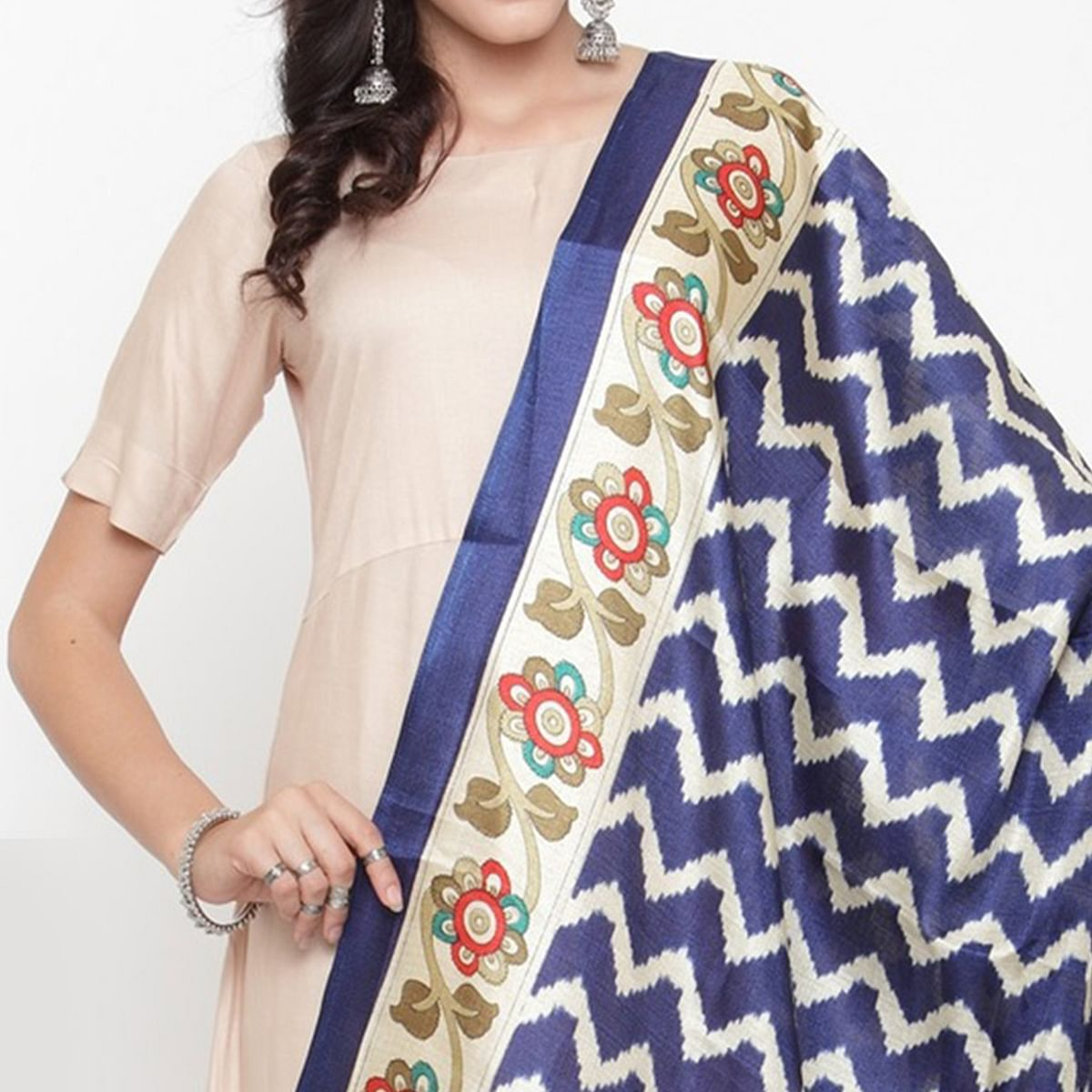 Excellent Blue Colored Casual Printed Khadi Silk Dupatta