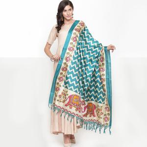 Ethnic Teal Blue Colored Casual Printed Khadi Silk Dupatta