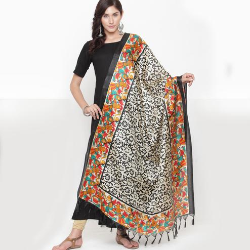 Starring Off White-Black Colored Casual Printed Khadi Silk Dupatta