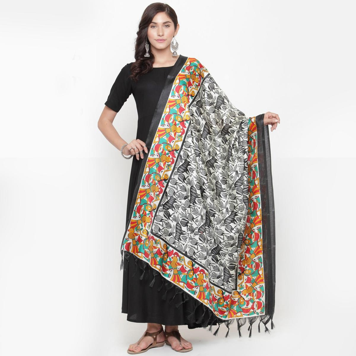 Surpassing White-Black Colored Casual Printed Khadi Silk Dupatta