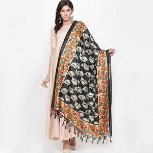 Entrancing Black Colored Casual Printed Khadi Silk Dupatta