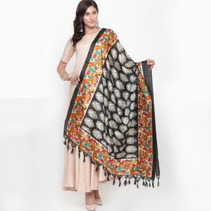 Imposing Black Colored Casual Printed Khadi Silk Dupatta