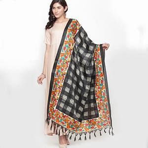 Blissful Black Colored Casual Printed Khadi Silk Dupatta