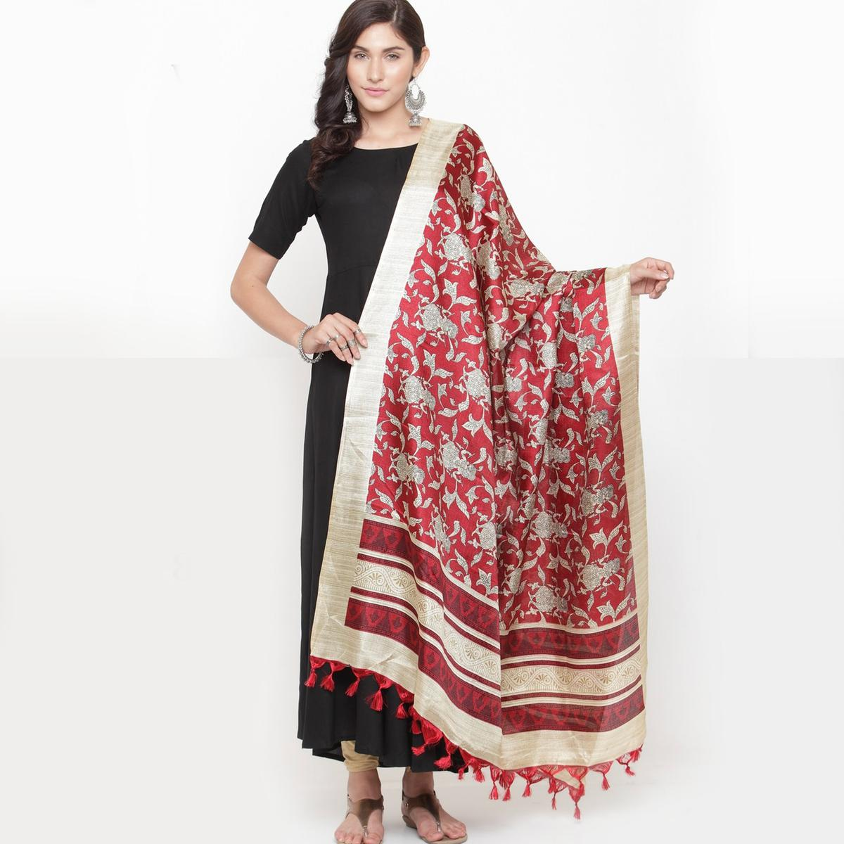 Ideal Red Colored Casual Printed Khadi Silk Dupatta