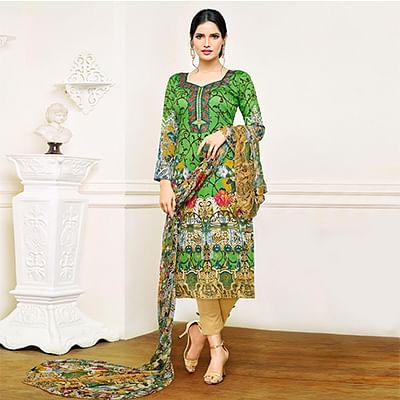 Green - Beige Cotton Printed Straight Cut Suit