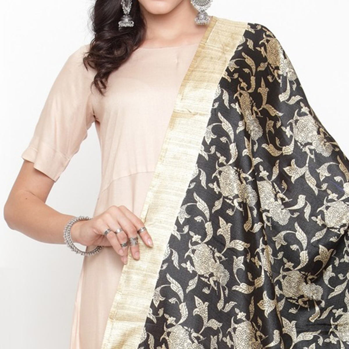 Engrossing Black Colored Casual Printed Khadi Silk Dupatta