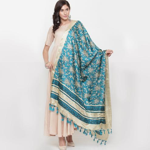Classy Turquoise Blue Colored Casual Printed Khadi Silk Dupatta