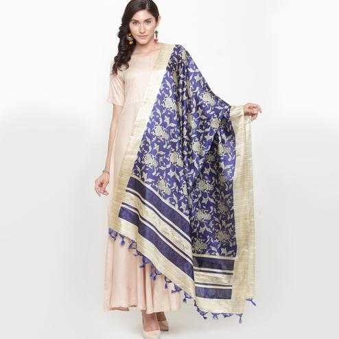 Glorious Blue Colored Casual Printed Khadi Silk Dupatta