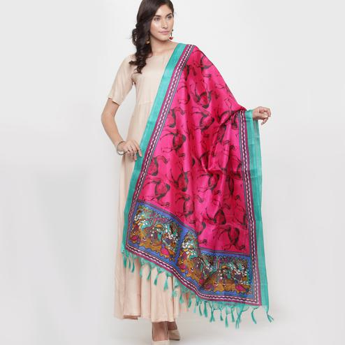 Graceful Deep Pink Colored Casual Printed Khadi Silk Dupatta