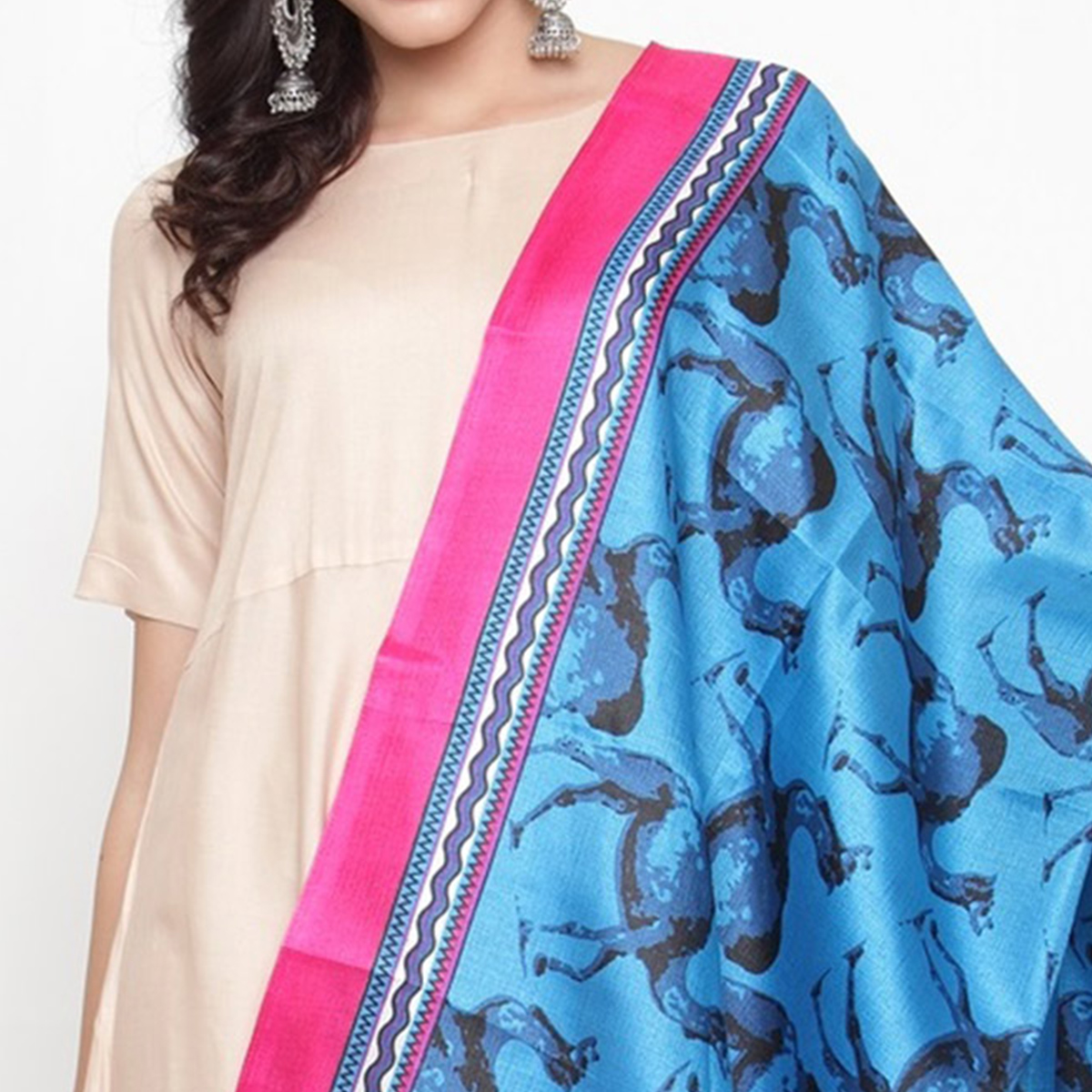 Lovely Blue Colored Casual Printed Khadi Silk Dupatta