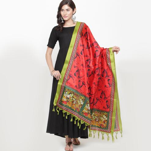 Pretty Red Colored Casual Printed Khadi Silk Dupatta