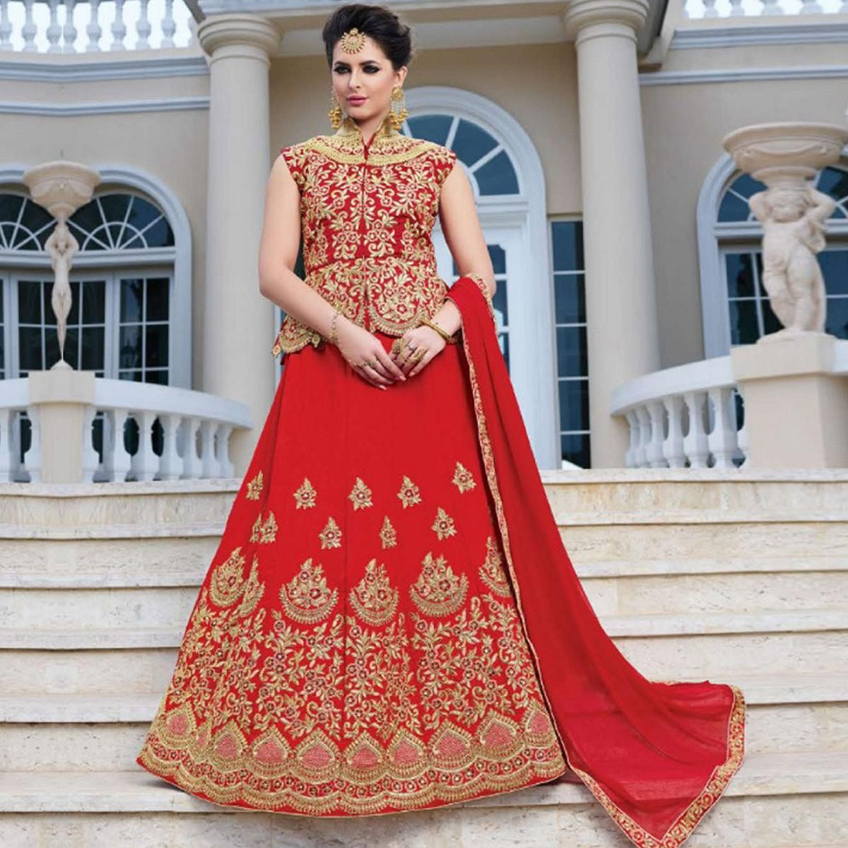 Glowing Red Colored Partywear Embroidered Silk Lehenga Choli
