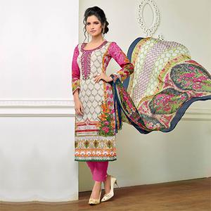 Pink - Off White Floral Printed Salwar Suit
