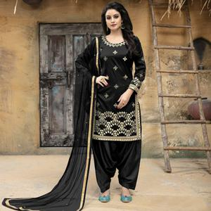 Blissful Black Colored Party Wear Embroidered Tapetta Silk Suit