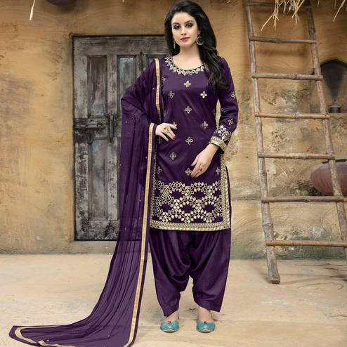 Ideal Purple Colored Party Wear Embroidered Tapetta Silk Suit