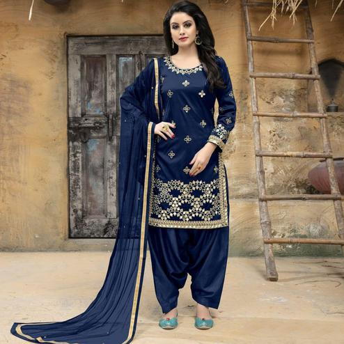 Engrossing Navy Blue Colored Party Wear Embroidered Tapetta Silk Suit