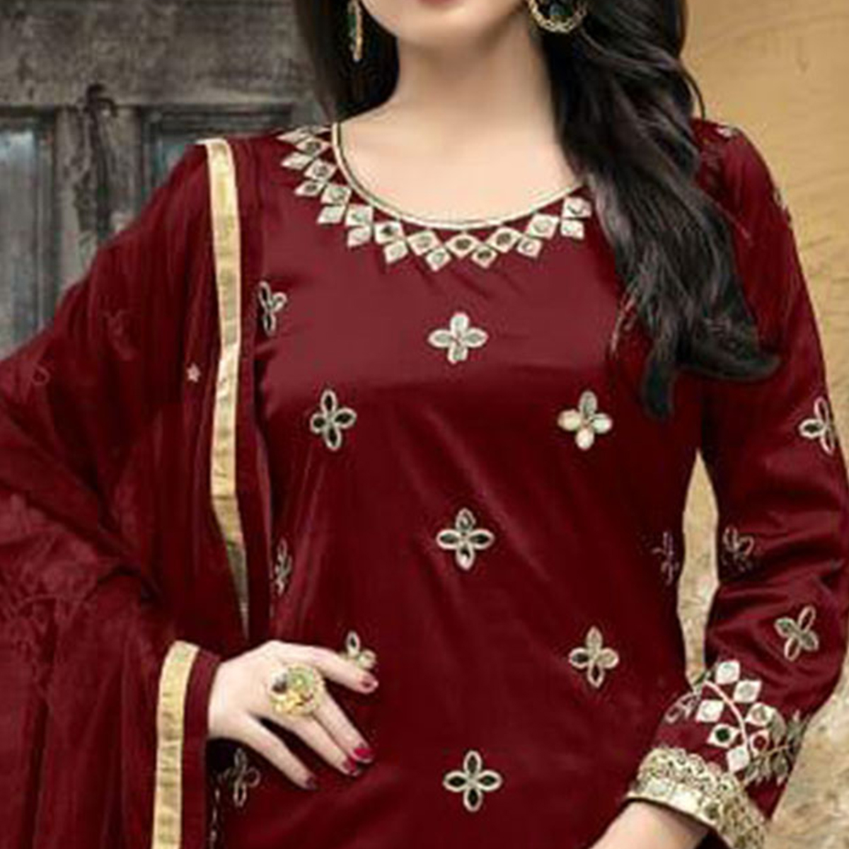 Fantastic Maroon Colored Party Wear Embroidered Tapetta Silk Suit