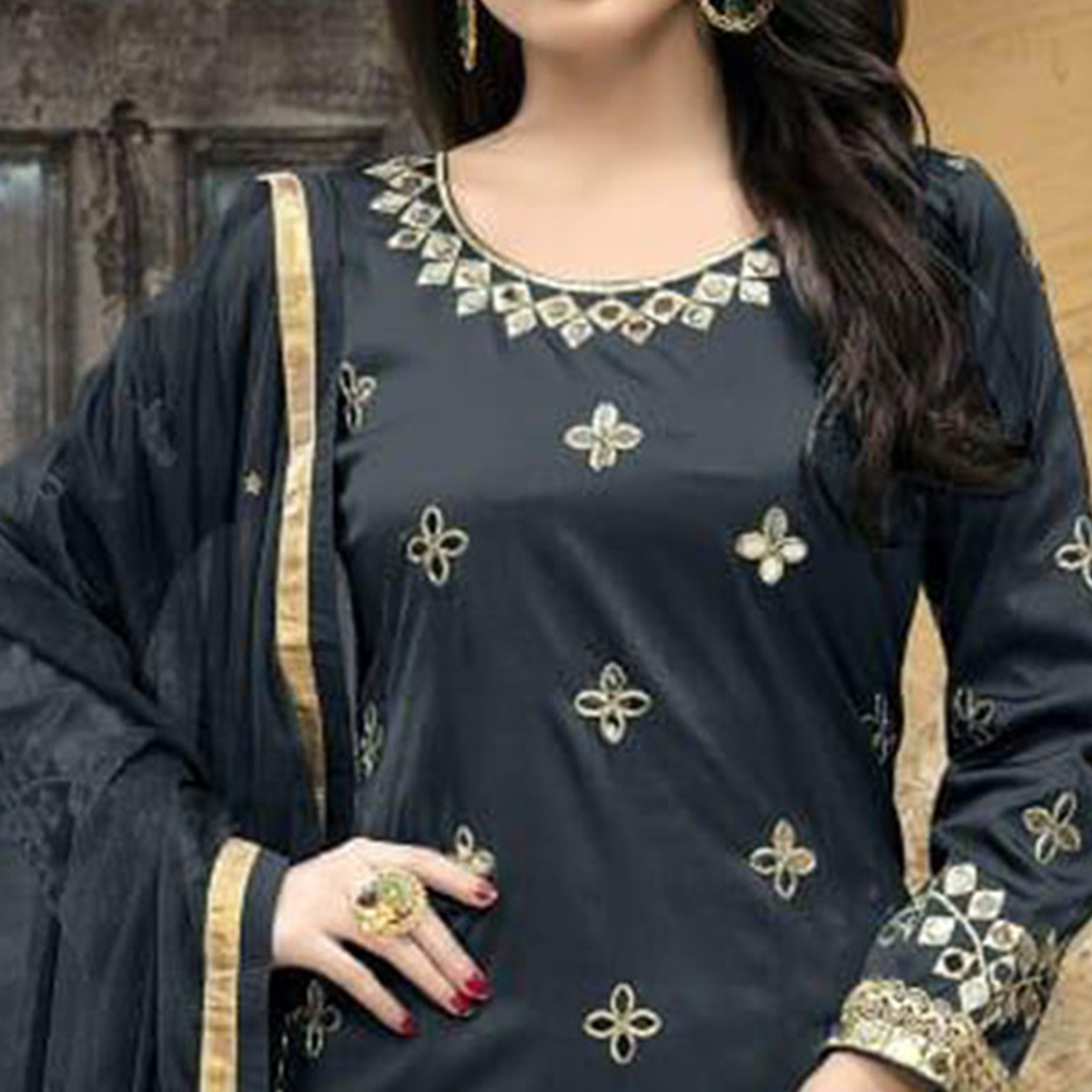 Pleasance Grey Colored Party Wear Embroidered Tapetta Silk Suit
