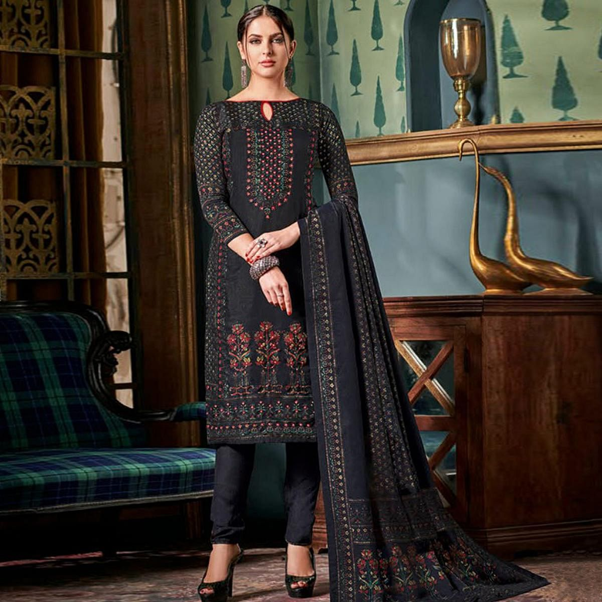Adorable Black Colored Party Wear Embroidered Tussar Silk Suit