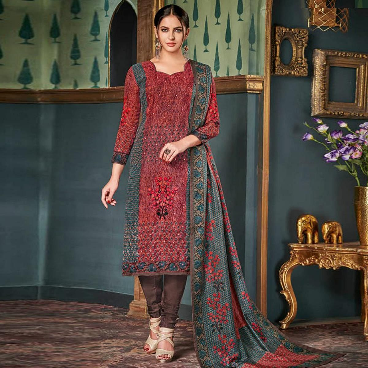 Attractive Maroon Colored Party Wear Embroidered Tussar Silk Suit