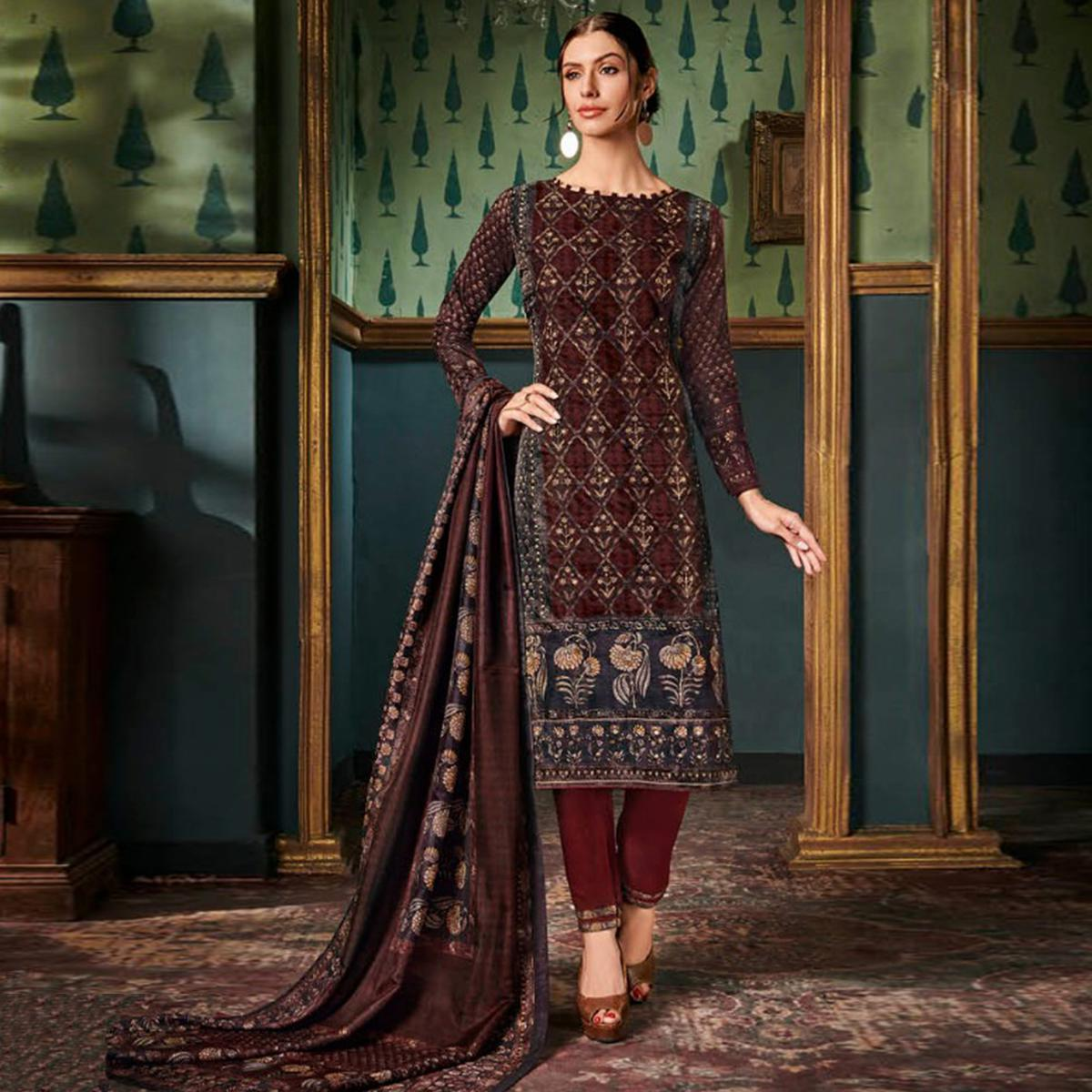 Glorious Brown Colored Party Wear Embroidered Tussar Silk Suit