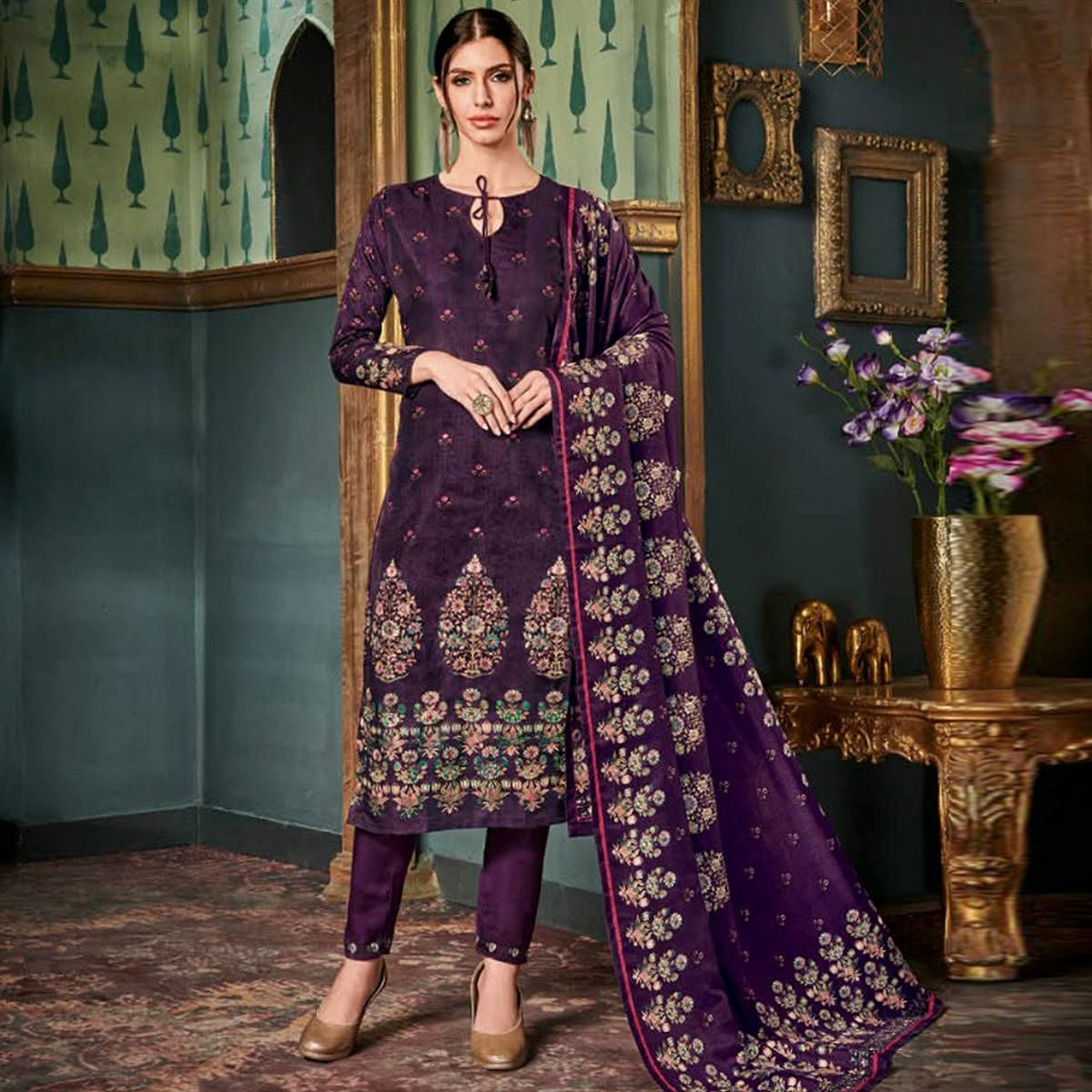 Graceful Dark Purple Colored Party Wear Embroidered Tussar Silk Suit
