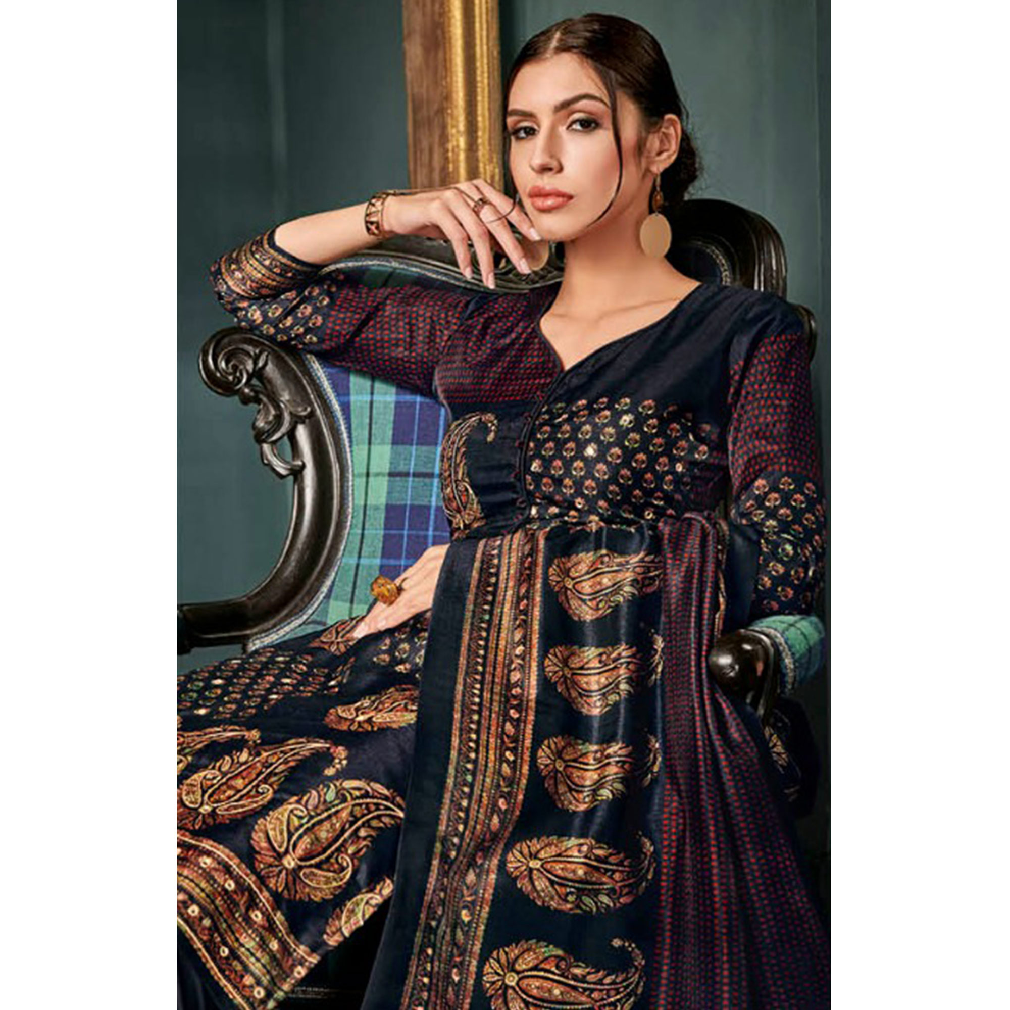 Lovely Navy Blue Colored Party Wear Embroidered Tussar Silk Suit
