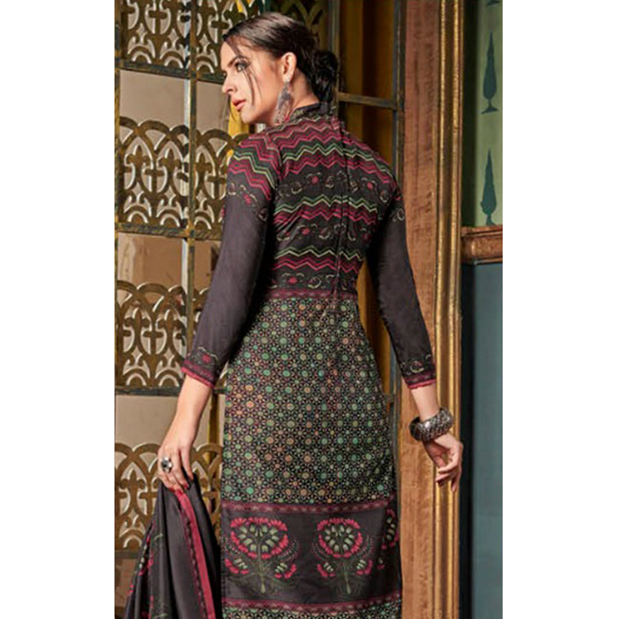 Pretty Dark Grey Colored Party Wear Embroidered Tussar Silk Suit