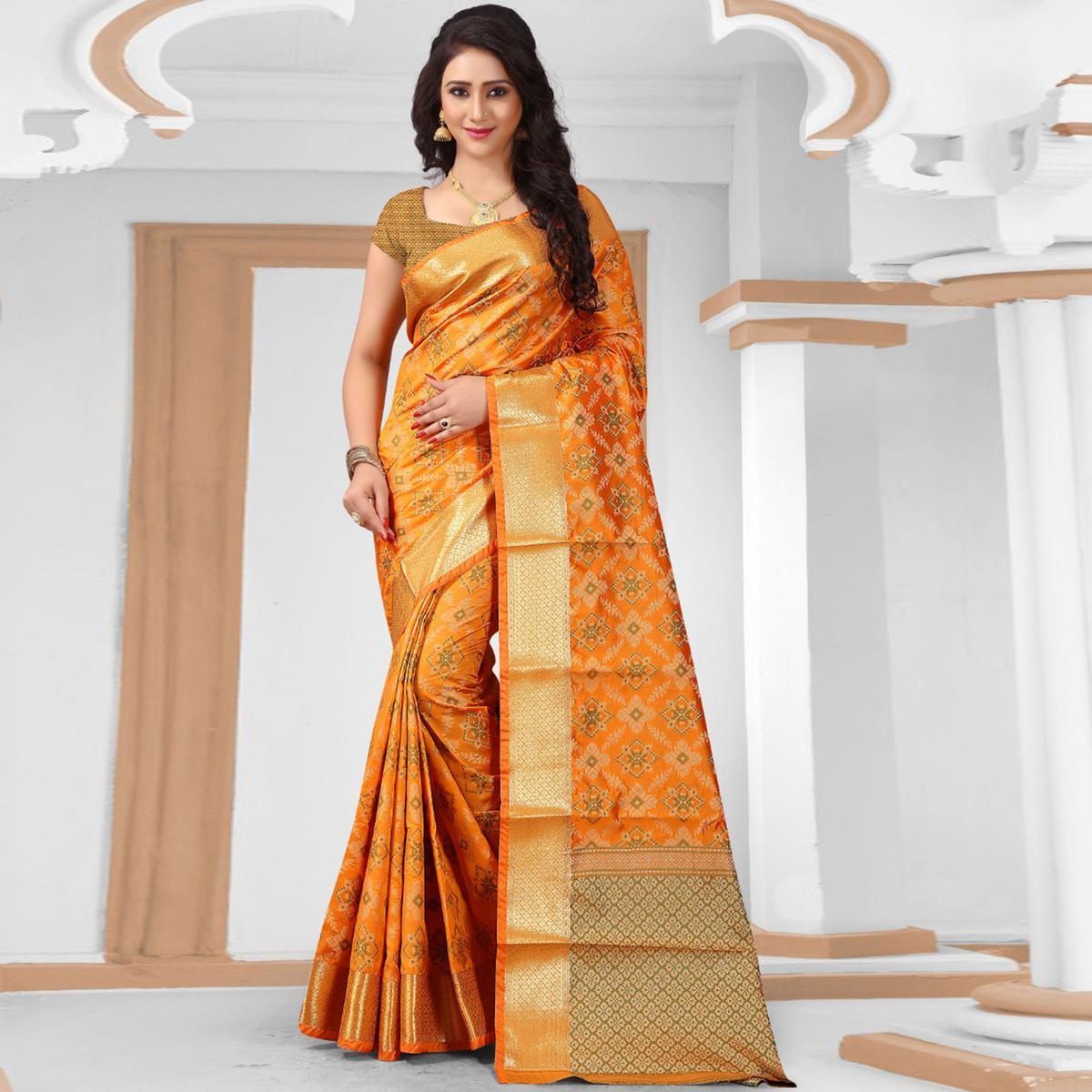 Classy Orange Colored Festive Wear Woven Banarasi Silk Saree
