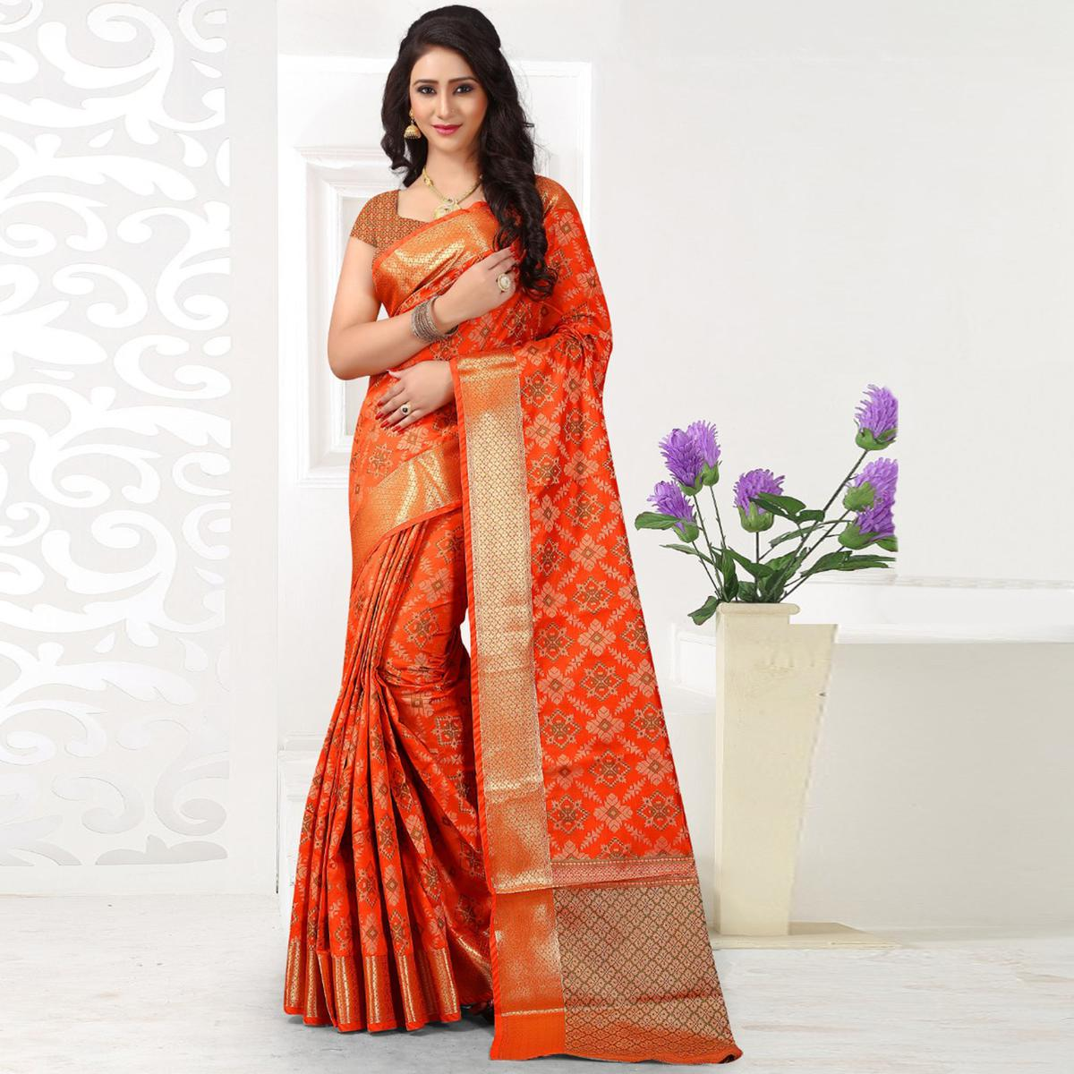 Glorious Dark Orange Colored Festive Wear Woven Banarasi Silk Saree