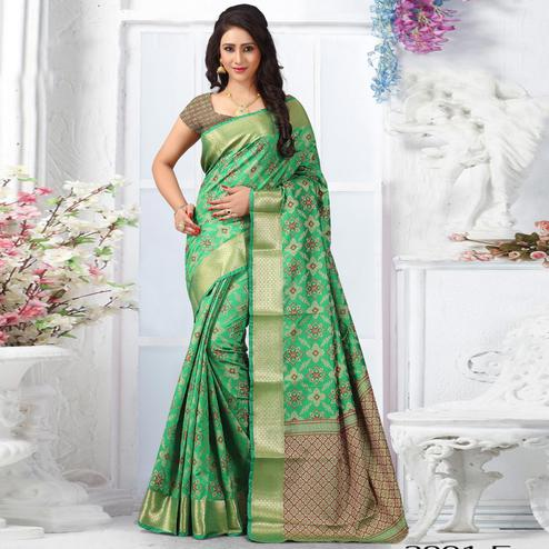 Graceful Green Colored Festive Wear Woven Banarasi Silk Saree