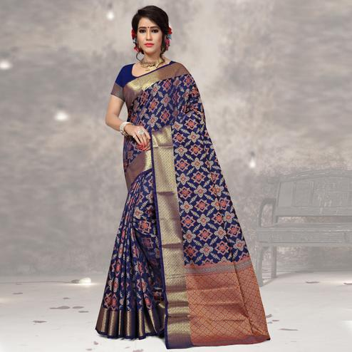 Charming Navy Blue Colored Festive Wear Woven Banarasi Silk Saree