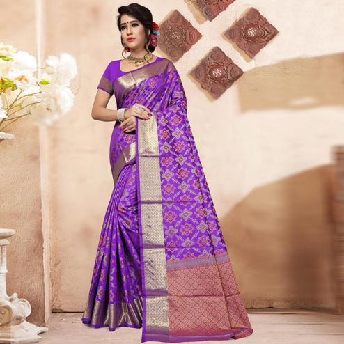 Purple Colored Festive Wear Woven Banarasi Silk Saree