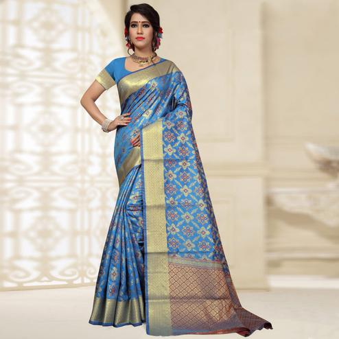 Delightful Blue Colored Festive Wear Woven Banarasi Silk Saree