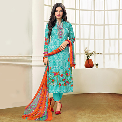 Turquoise - Orange Floral Printed Suit