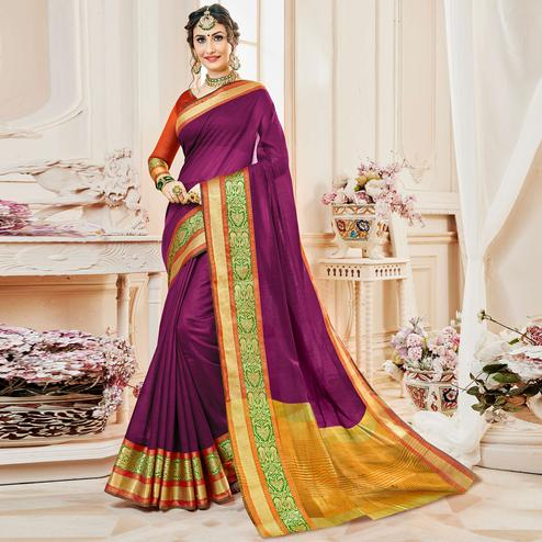 Beautiful Purple Colored Festive Wear Woven Cotton Silk Saree