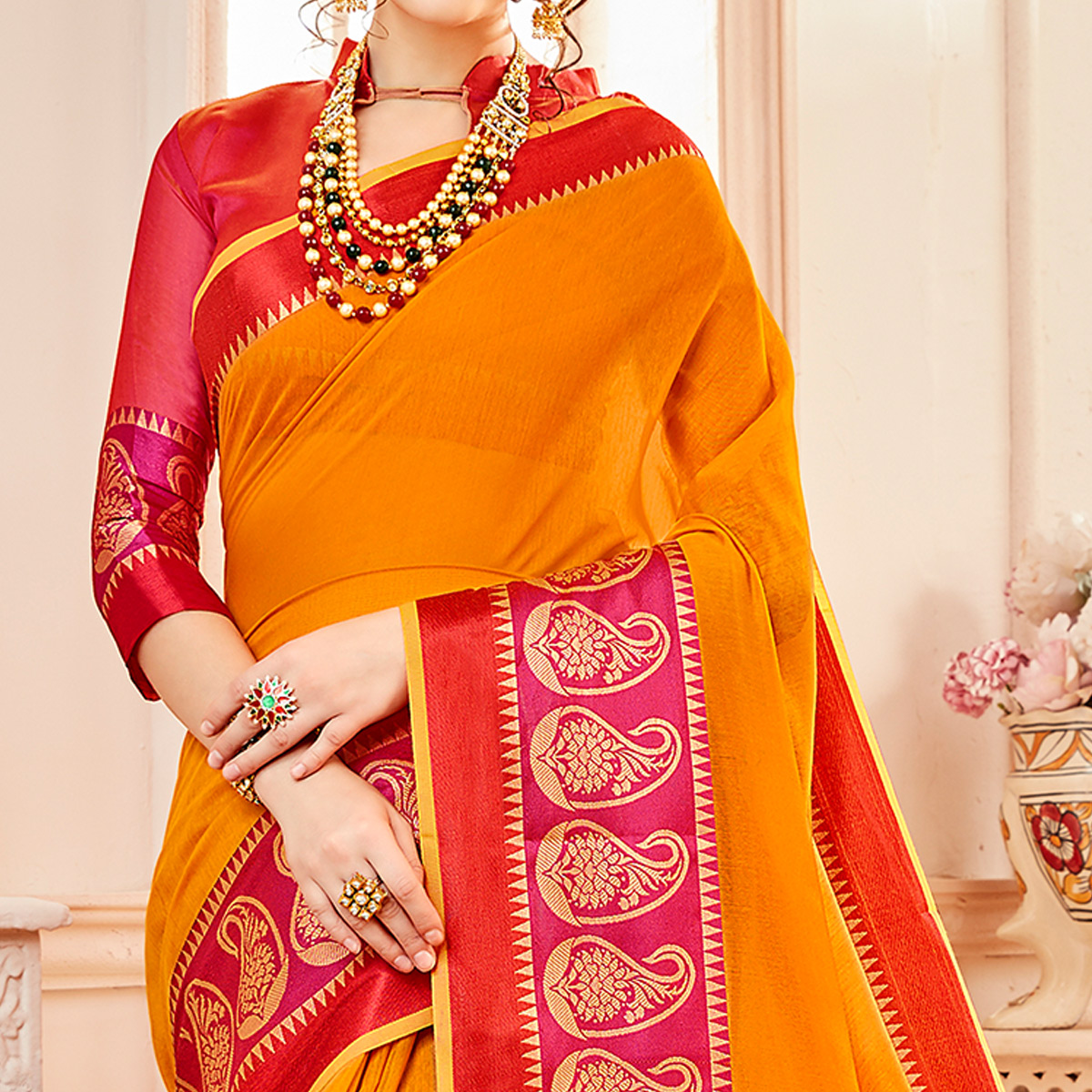 Gorgeous Mustard Yellow Colored Festive Wear Woven Cotton Silk Saree