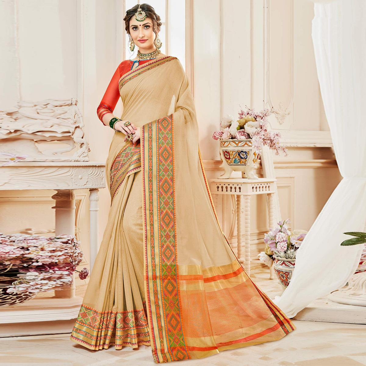 Classy Beige Colored Festive Wear Woven Cotton Silk Saree