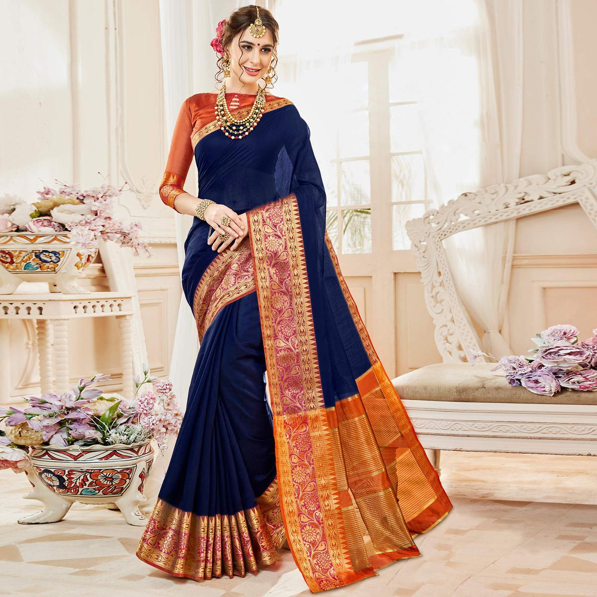 fc81fb177e166 Buy Graceful Dark Blue Colored Festive Wear Woven Cotton Silk Saree For womens  online India