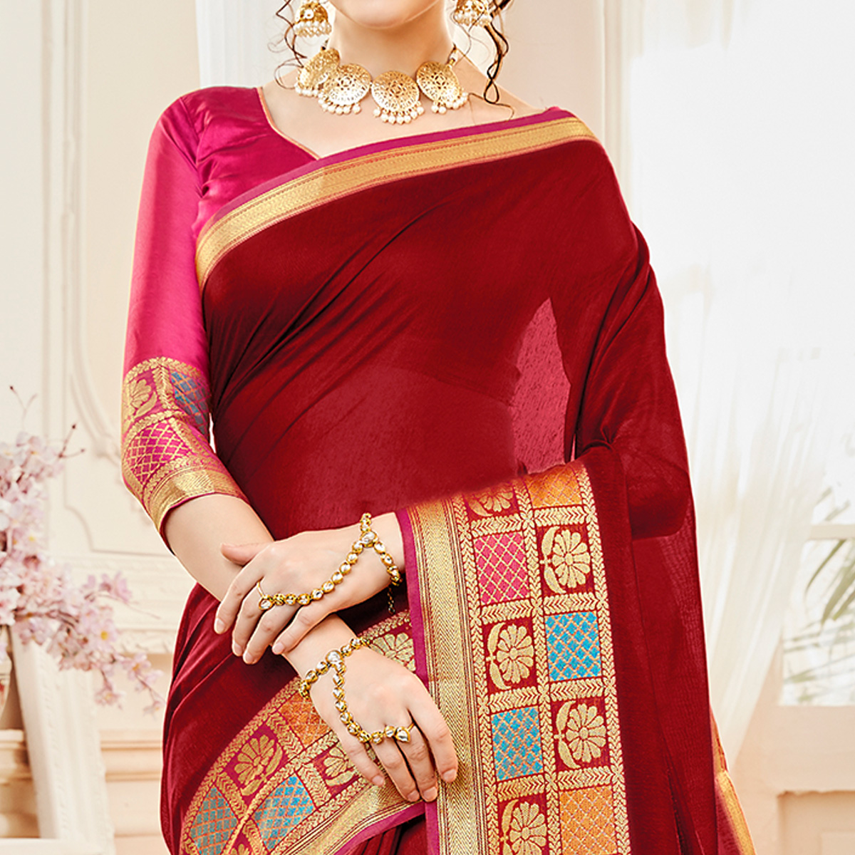 Lovely Maroon Colored Festive Wear Woven Cotton Silk Saree