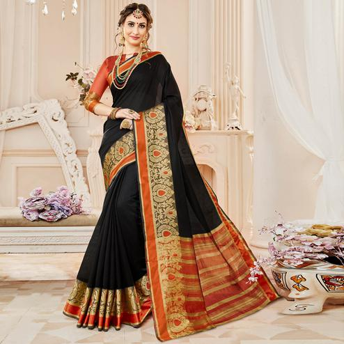 Pretty Black Colored Festive Wear Woven Cotton Silk Saree