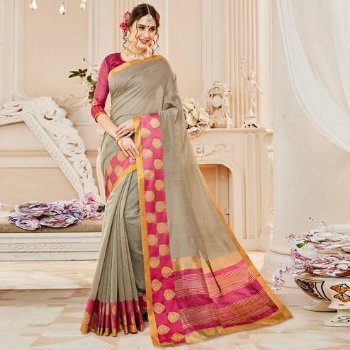 Charming Grey Colored Festive Wear Woven Cotton Silk Saree