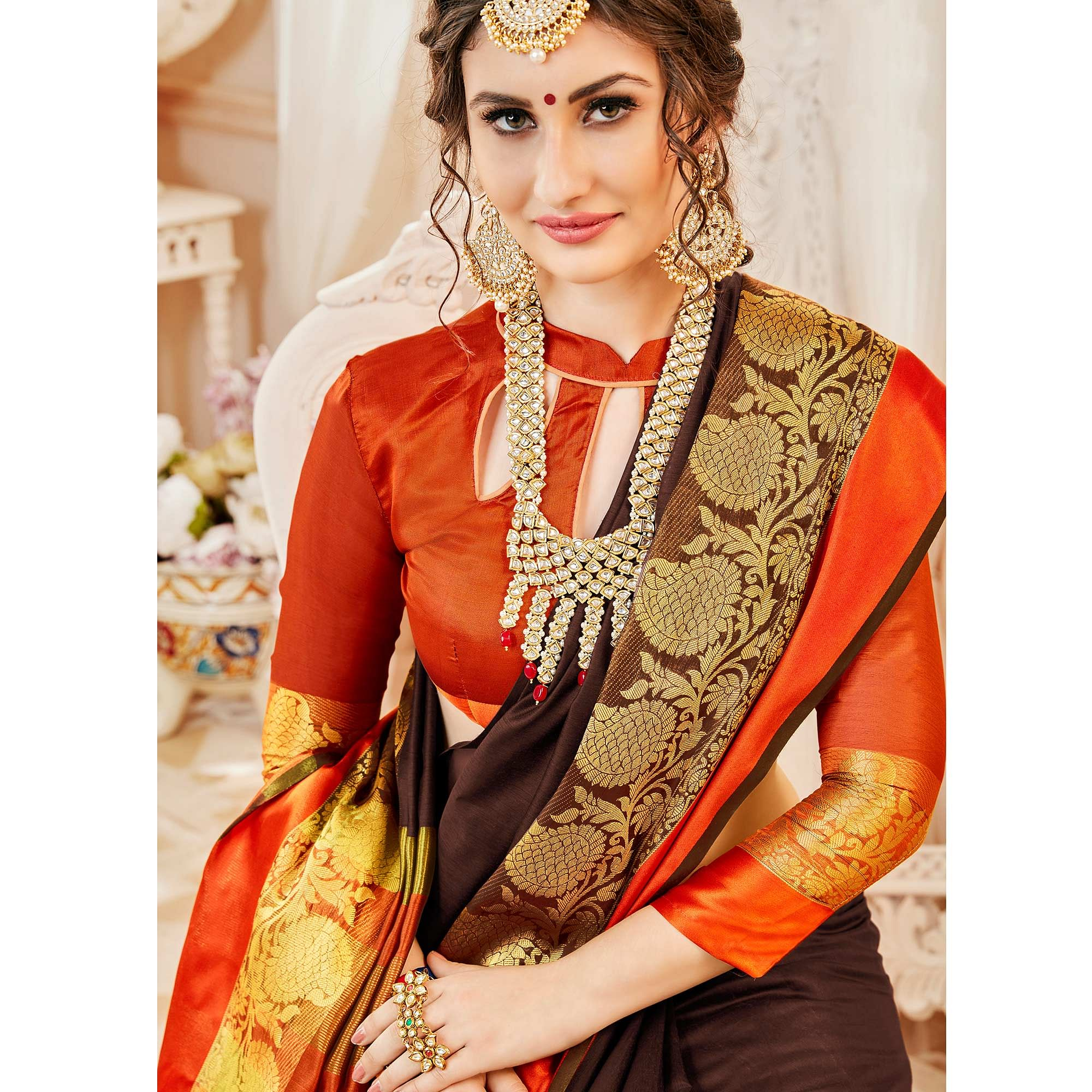 Stunning Brown Colored Festive Wear Woven Cotton Silk Saree
