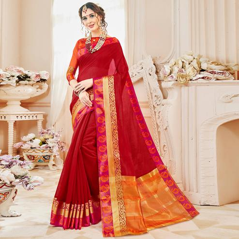 Blooming Red Colored Festive Wear Woven Cotton Silk Saree