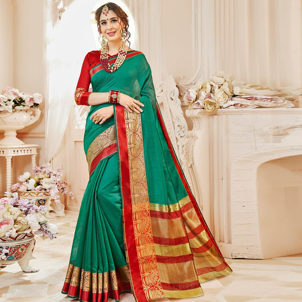Mesmerising Teal Green Colored Festive Wear Woven Cotton Silk Saree