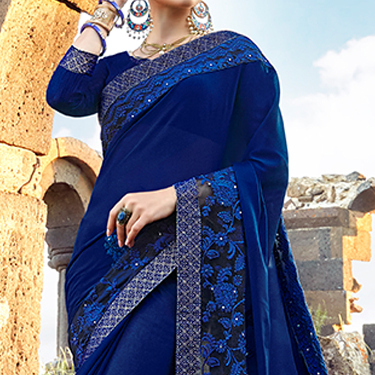 Adorable Dark Blue Colored Party Wear Embroidered Georgette Saree